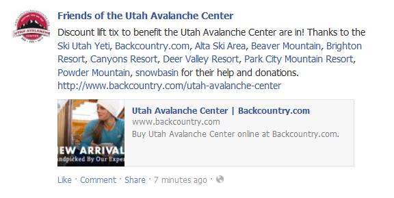 Discount Lift Tickets in Support of Utah Avalanche Center